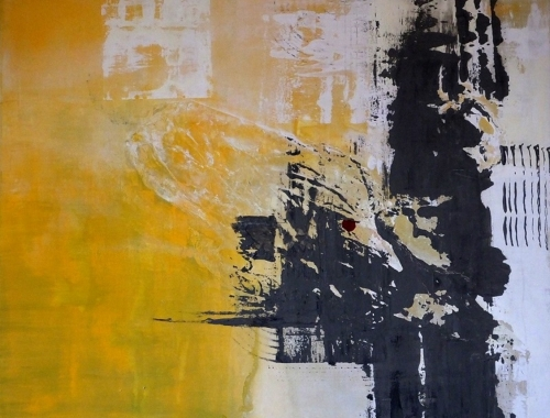 grau gelb, abstrakte Malerei