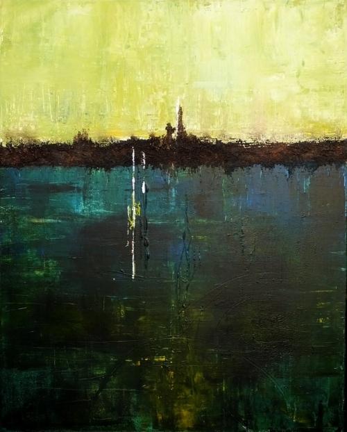 Am See, abstrakte Malerei