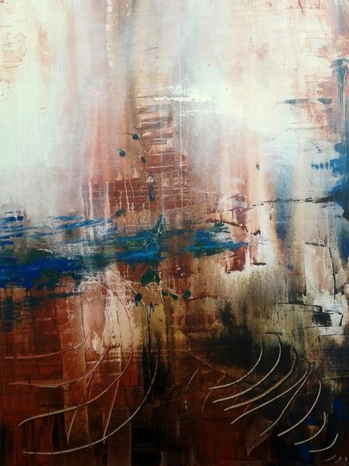 Türkis braun, abstrakte Malerei